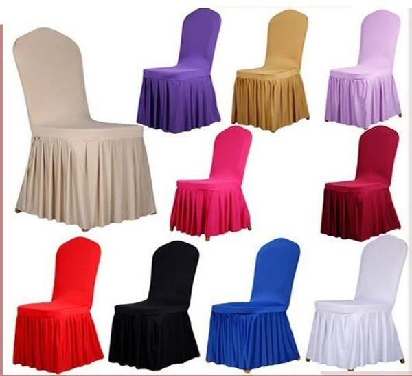 Jupe de couverture de mariage banquet chaise protecteur housse décor jupe plissée style chaise couvre élastique spandex haute qualité HT056
