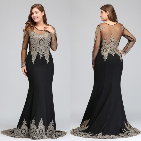 2019 New Sexy Back Cheap In Stock Designer Plus Size Evening Dresses Sheer Long Sleeves Gold Lace Appliques Mermaid Prom Party Gowns CPS404