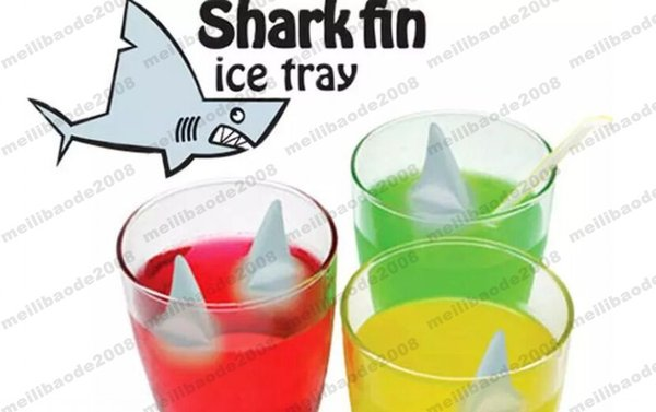 Shark Fin Shape Ice Mold Cube Tray Silicone Ice Mold with Making 5 Fins 1 Time for Summer Funny Drinking free shipping MYY