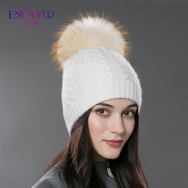 Winter women's hat knitted wool beanies big fluffy raccoon fur pompom hat solid colors ski gorros cap outdoor causal skullies