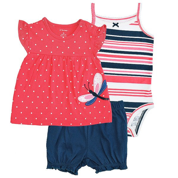 2017 Hot Newborn Baby Girls Boys Clothes Baby Bodysuit Romper Set Infant Pajamas Shortsleeve Bodysuit 3pcs Outfits Set Lovely Gift for Kids