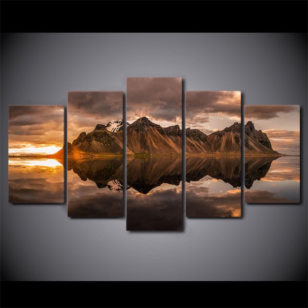 New Mountain reflection On the Water Scenery Painting 5 Panel Unframed Canvas Print Modular Pictures For Home decor Wall Art