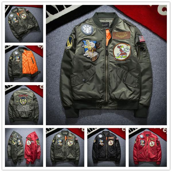 2017 Yeni NASA Bombacı Ceket Erkekler Ma-1 Uçuş Ceket Pilot Hava Kuvvetleri Erkek Ma1 Ordu Yeşil Askeri motosiklet Ceketler Mont S-3XL