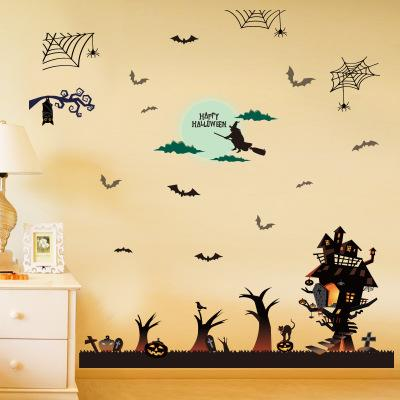 New Large Size Witch Haunted House Jack-o-lanterns Halloween Decorative Wall Decal Mural DIY Festival Wall Sticker for Home Decoration