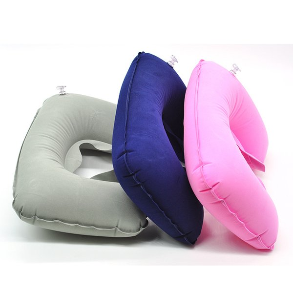 Wholesale- 1 Pc 3 Color Available Air Inflatable Pillow U-shape Neck Pillow Outdoor Portable Air Inflatable Rest Pillow Airplane Travel