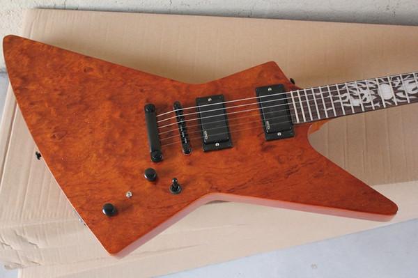 James Hetfield Brown Heavy Metal Explorador guitarra elétrica Sun MOP Fingerboard Inlay Red Light Side Dot ativo EMG Pickups bateria de 9V