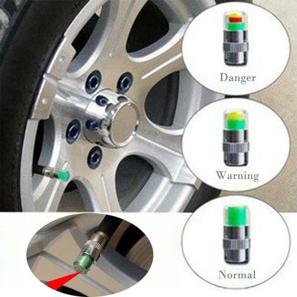 Mini 2.4Bar Car Tire Pressure Gauge Monitor tappi Strumenti TPMS Warning Monitor Valve Indicator 3 Color Alert Diagnostic Tools Accessori