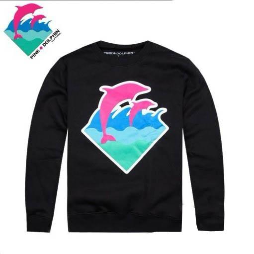Spring Autumn Casual Sports Long Sleeve Hooded Sweatshirt Hoodies Free Shipping Pink dolphin o-neck sweater