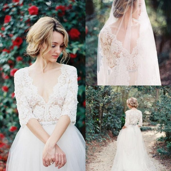 2017 Sexy Country Lace Wedding Dresses Sheer Lace Sexy Deep V Neck 1/2 Sleeves Floor Length Tulle Beach Wedding Gowns Pregnant Dresses