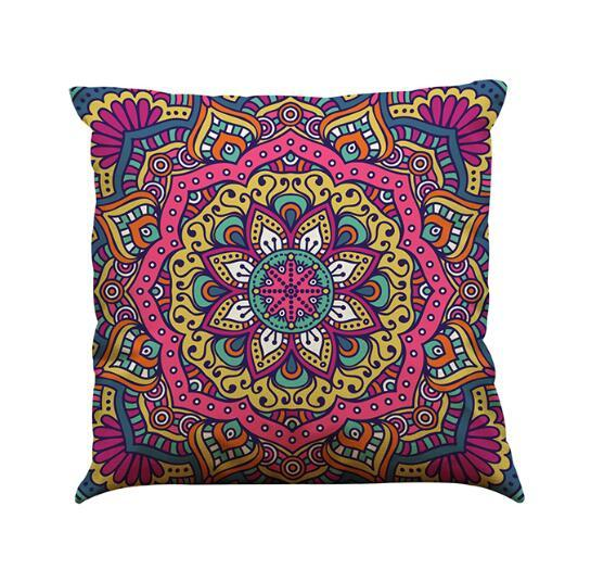 Indian Style Pattern Cushion Cover Linen Pillow Case 45CM Square 18 Inch Throw Pillow Case Natural Healthy Material Breathable Pretty Decor