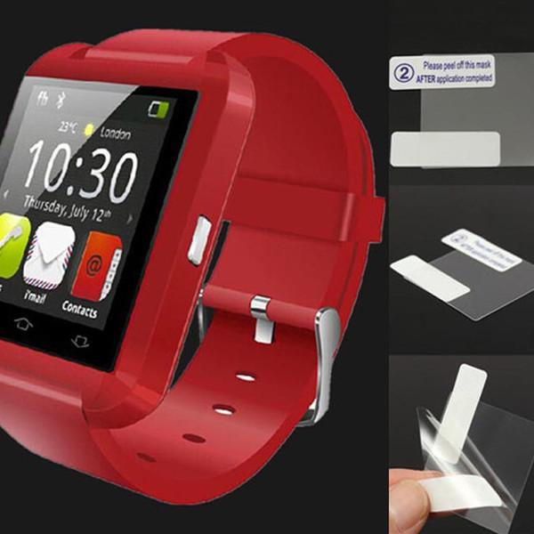 Película protectora de pantalla HD antirreflejo / superficie de huella dactilar mate para U8 Smart Watch DZ09 Smartwatch 100pcs / lot Envío gratis