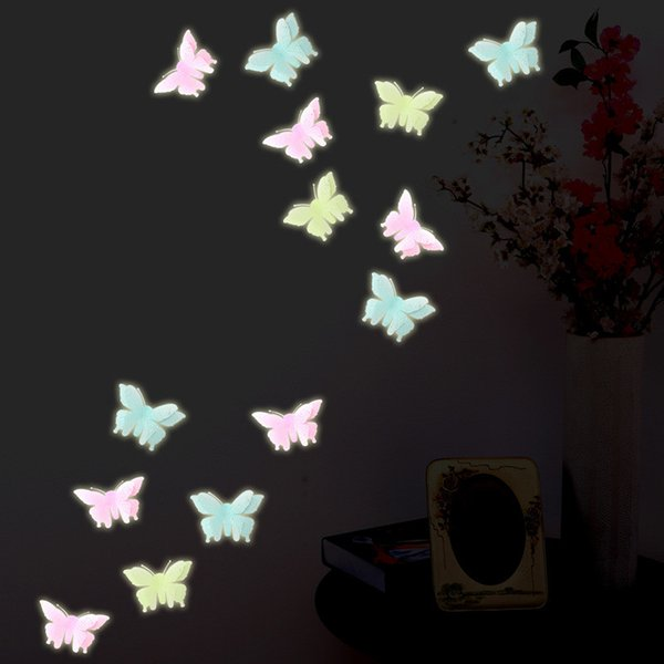 Wholesale- 6pcs/bag Christmas fashion Luminous butterfly sticker home decoration Window Wall Decorating plastic Sticker Decor Cartoon 2017