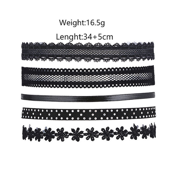 European and American style gothic 5 pieces/lot black women's short lace rope chokers necklaces jewelry accessories