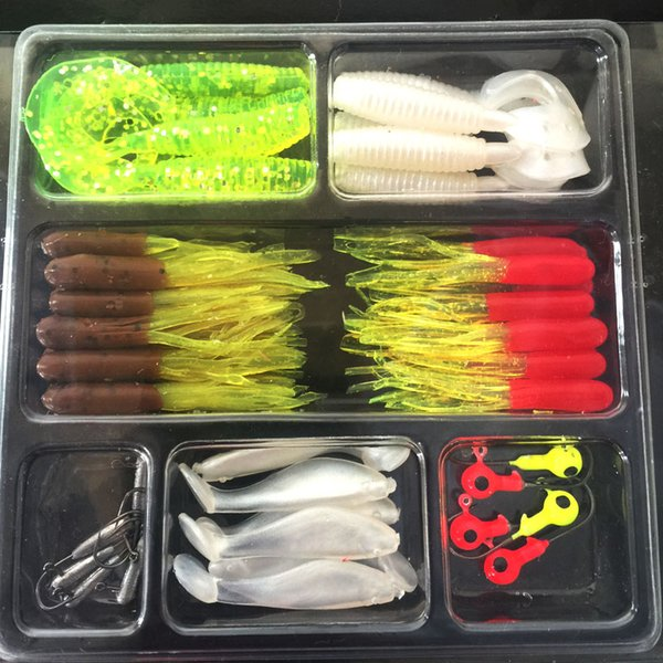 35Pcs Soft Worm Lure Carp Fishing Lure Set + 10 Lead Head Jig Hooks Simulation Suite Soft Fishing Baits Set free shipping