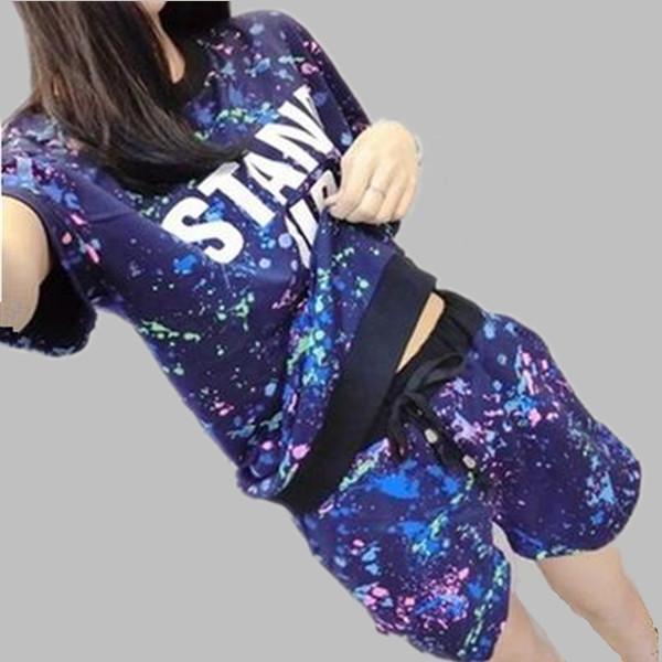 Wholesale- Tracksuit for women short sleeve female pajama set new fashion 2016 summer pajamas print pyjama combinaison girls pijamas A120