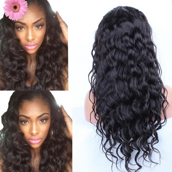 DHL Free shipping Indian Virgin Hair Body Wave Full Lace Human Hair Wigs For Black Women 8A Wavy Remy Hair Lace Front Wigs
