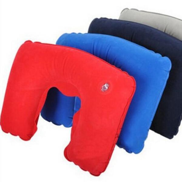 Wholesale- 1pcs U shape Neck Rest Air Inflatable pillow Travel Plane train Convenient portable (2014226)