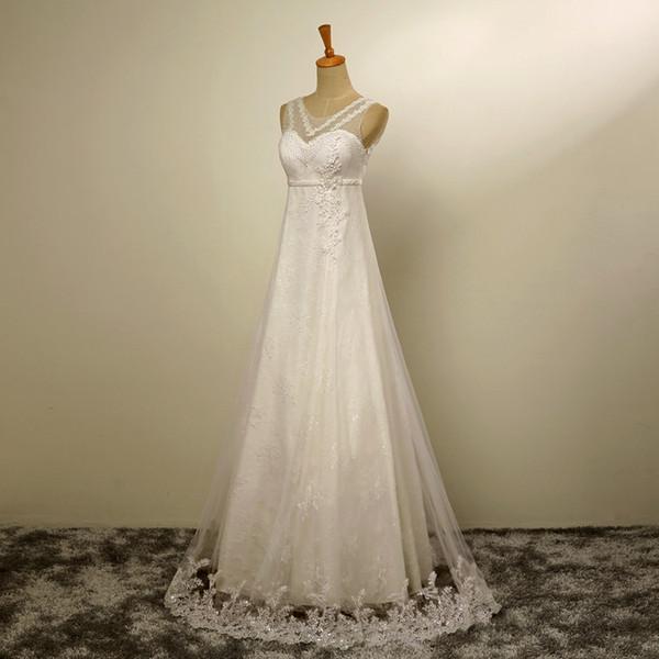High End Custom Fashion Sexy Lace Weiß Chiffon Brautkleider Eine ...