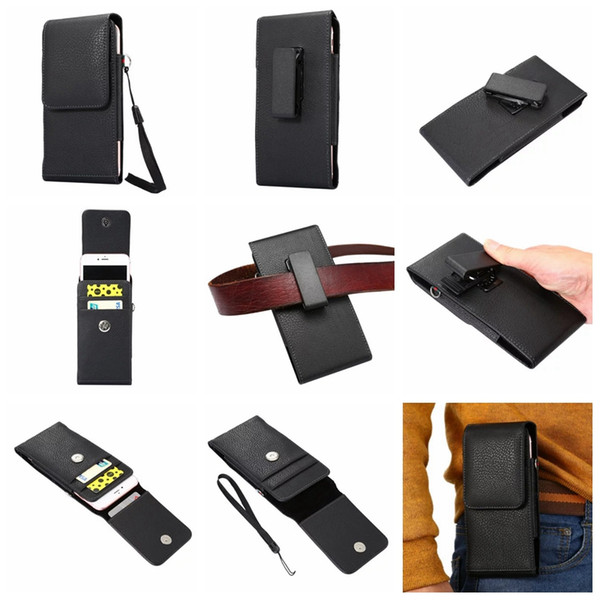For Iphone 7 Plus 6 6S 5C 4S S7/Edge/S6 Mega 6.3 For Sony Universal Universal Black Card Vertical Hip Holster Leather Slot Clip Belt Pouch