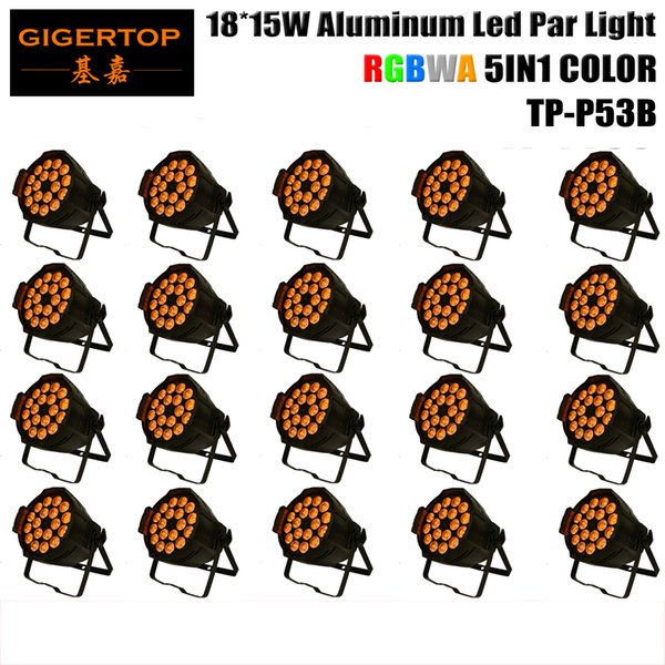 TIPTOP stage light 20pcs/lot 18*15W 5in1 RGBAW Aluminum DMX LED Flat Par Can,amber Color strobe wash effect For Disco Club Party TP-P53B