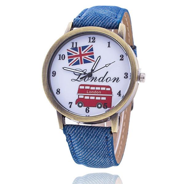 2017 Bandera de la Unión de la Moda de Londres Reloj del Autobús Relogio Feminino Reloj de Pulsera de Las Mujeres Casual de Lujo Jeans Relojes envío gratis