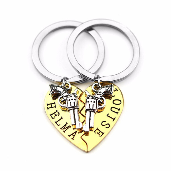 2pcs THELMA LOUISE Keychain Keyring Guns Heart Friendship Adventure Freedom Best Friends Forever BFF Key Chain Keepsake Gift