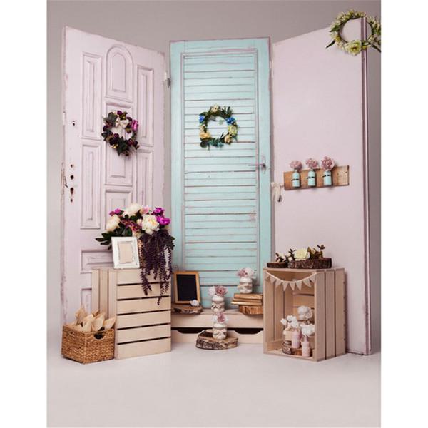 Light Blue White Wooden Doors Vinyl Photo Backdrop Indoor Wood Cases Flowers Decors Kids Children Photography Background Baby Newborn Props
