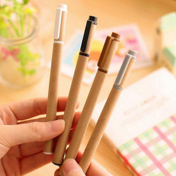 New 20pcs/lot Kraft Paper Pen Environmental Friendly Recycled Paper Ball Point Pen Wholesale Writing School Office Gel Pens