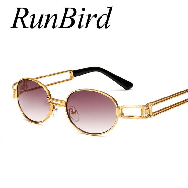 Atacado- RunBird Hip Hop Pequeno Rodada Óculos De Sol Dos Homens Do Vintage Steampunk Óculos De Sol Das Mulheres Óculos De Armação De Ouro Óculos Oculo UV400 494R