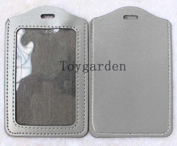 Venda 100PC Tarjeta de identificación de trabajo de negocios plástica Titular de la insignia Correa para el cuello gris Claro G41