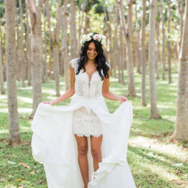 Summer Beach Chiffon Wedding Dresses 2019 Sweetheart Cap Sleeve Lace Wedding Gowns Front Slit Open Back gelinlik