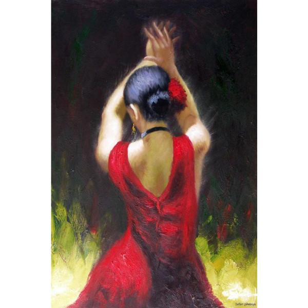 Figure peintures à l'huile Danseuse de flamenco en robe rouge art de femme Peinture pour la décoration de la salle peinte à la main