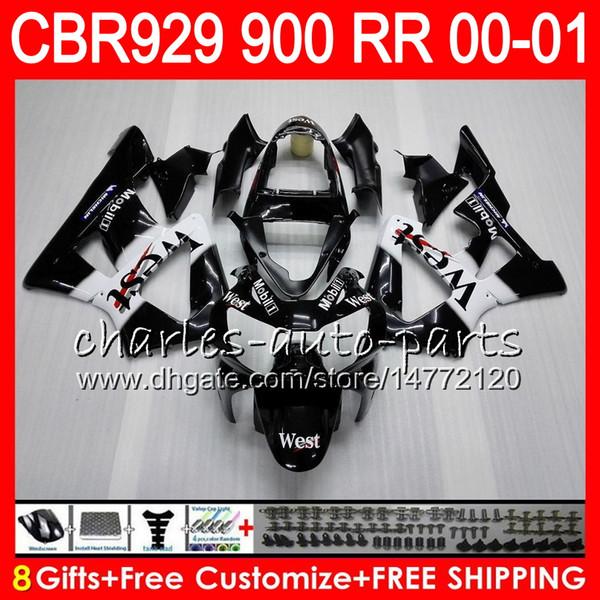 Body For HONDA CBR 929RR CBR900RR CBR929RR 00 01 CBR 900RR TOP Black west 67NO17 CBR929 RR CBR900 RR CBR 929 RR 2000 2001 Fairing kit 8Gifts