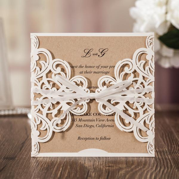 Hollow White Lace Flower Invitation Cards Elegant Laser Cut Ribbon Wedding Invitations Kraft Paper Inner Sheet Wishmade CW6175W