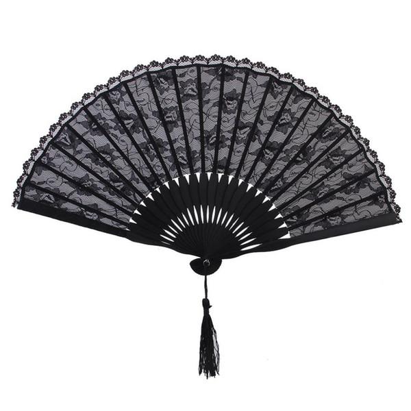 Ventilador de mão vitoriana espanhol para festa de casamento favor fantasia japonês preto bolso ventilador de bolso