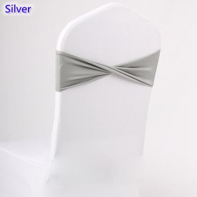 Silver colour spandex sashes lycra sash for chair cover spandex bands bow tie For Wedding Decoration banquet design for sale