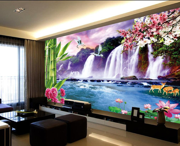 best selling Fresh large waterfall TV wall mural 3d wallpaper 3d wall papers for tv backdrop