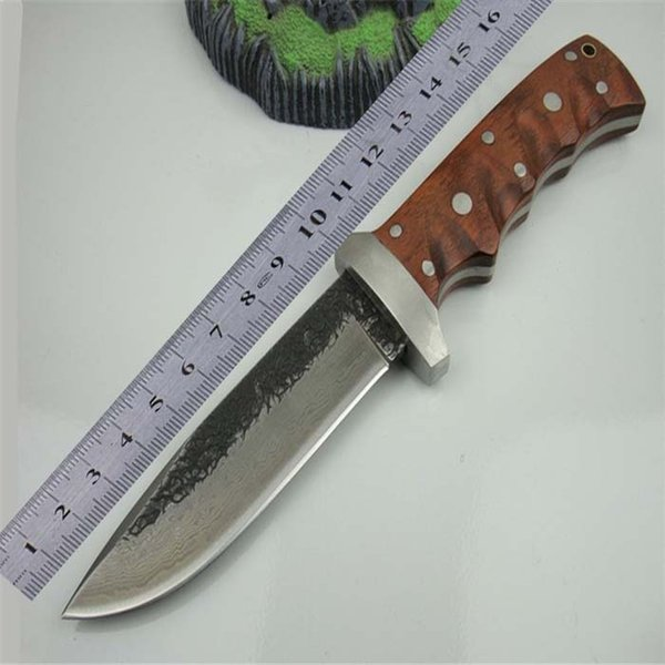 FREE SHIPPING Handmade High-carbonDamascus Wood Handle Full Tang Forged Steel Sharp Fixed Hunting Knife Camping Knife D83