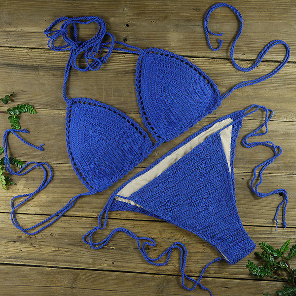 100% Handmade Crocheted Women's Clothing Swimwear Bikini Set Sexy boho chic Lined Padded crop top Bikini Set Deep Blue