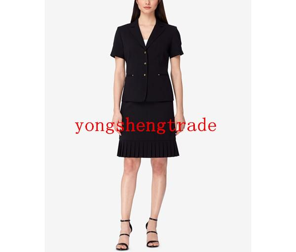 New Arrial Black Ruffled Skirt Suit Custom Made Women Business Suits Peak Collar Short Sleeves Perfect For Any Occasion