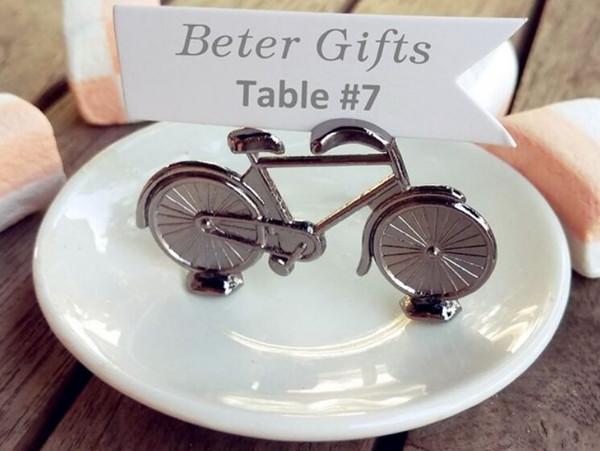 Großhandel 200 Stücke Vintage Fahrrad Tischplatz Kartenhalter Name Nummer Hochzeit Memo Clip Restaurants Dekoration Für Hochzeit Gunsten Von