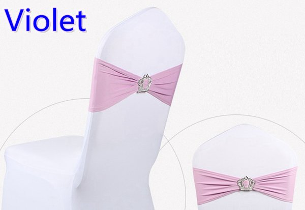 Violet colour Crown buckle lycra sash for wedding chairs decoration spandex band stretch bow tie lycra ribbon belt on sale