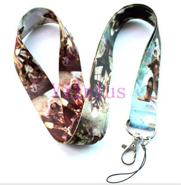 Free shipping 30Pcs /Wholesale lots Popular Game Style Assassin's Creed Necklace Strap Lanyards Cell Phone PDA Key ID Strap Charms
