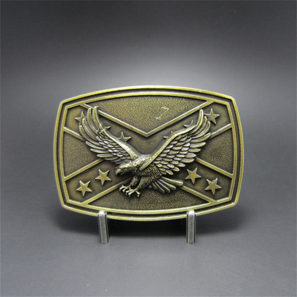 Vintage Eagle Cross Star Flag Enamel Belt Buckle Boucle de Ceinture
