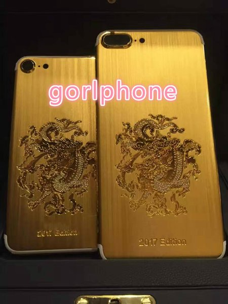 Hot selling stylish real gold black matt dragon cover for iphone 7 housing back panel For iphone 7 24kt gold plated limited edition back