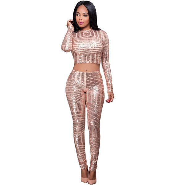 Wholesale- Sequined Long Sleeve Women Two Pieces Sets Crop Top + Long Pant 2017 Bodycon Skinny Sexy Jumpsuit Hollow Out Long Rompers S2751