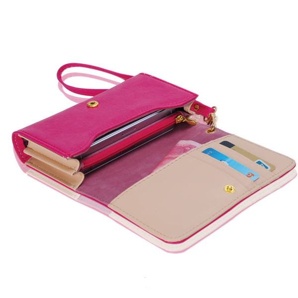 Wholesale- NEW YEAR for Women Money Clip Wallet Multifunctional Clutch Bag Leather Phone Case Purse for iPhone 4/4S/5 for Samsung S2 S3 *37