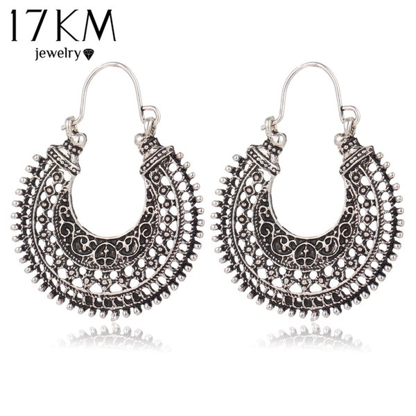17KM nuovi scava fuori i doppi lati argento tibetano colore cerchio moda vintage orecchini per le donne all'ingrosso trasporto di goccia di gioielli