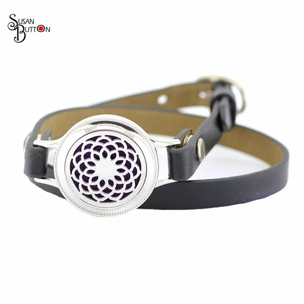 Fashion 6cs/lots 25MM Stainless Steel Aromatherapy Leather Bracelet Flower Retro Fake Nails twist Diffuser Perfume Locket Bracelet Jewelry