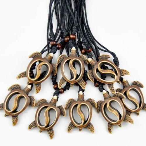 Wholesale LOT 12 pcs Imitation Yak Bone Carved Hawaiian Honu Turtles Pendant Surfing necklace Handmade Wood Bead Amulet Gift MN458